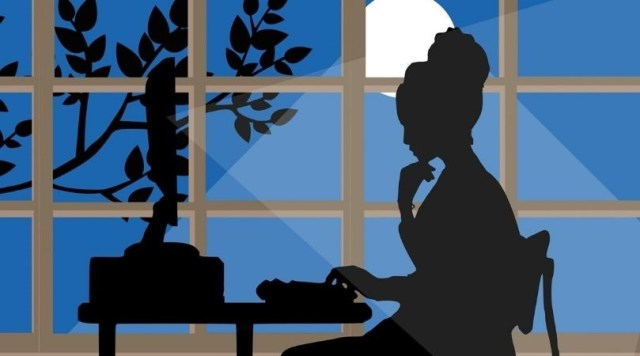 Illustration of woman watching something on her computer at night