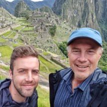 Father and son in Machu Picchu