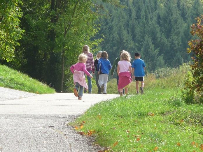 children on hike