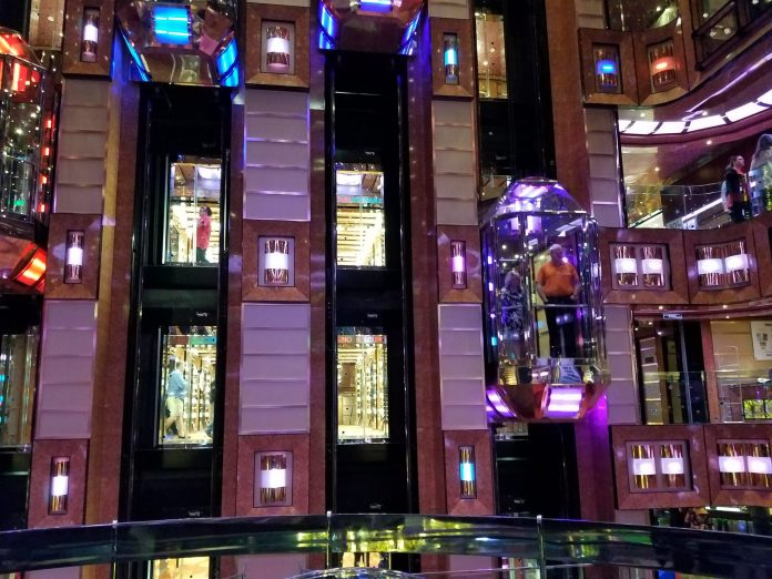 Glass elevators on cruise ship