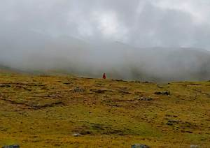 Incan woman on trail