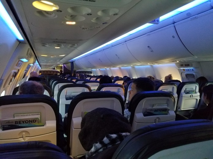 inside airplane cabin