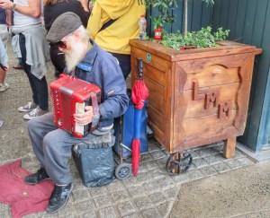 looking around Limerick, man playing accordion