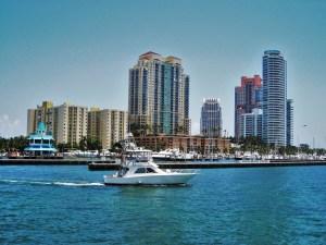 Miami marina with boat