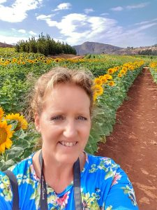 selfie with sunflowers