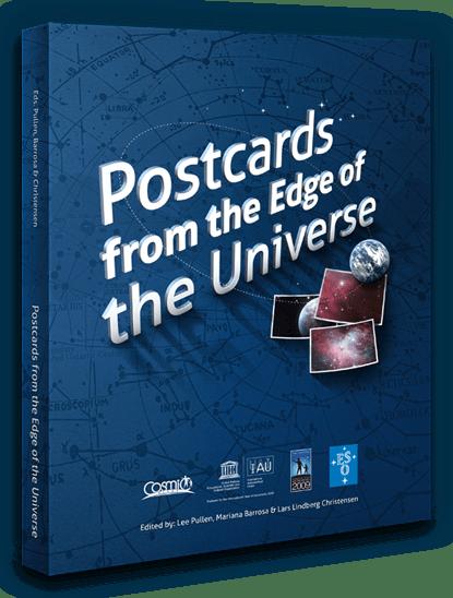 """Capa do livro """"Postcards from the Edge do Universe"""" referido nos """"Exemplos"""""""