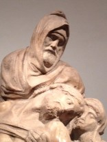 Michelangelo's Pieta with his poignant self portrait as Nicodemus
