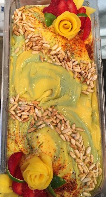 Gelato #9 - Roasted Green Tea w Crunchy Mango