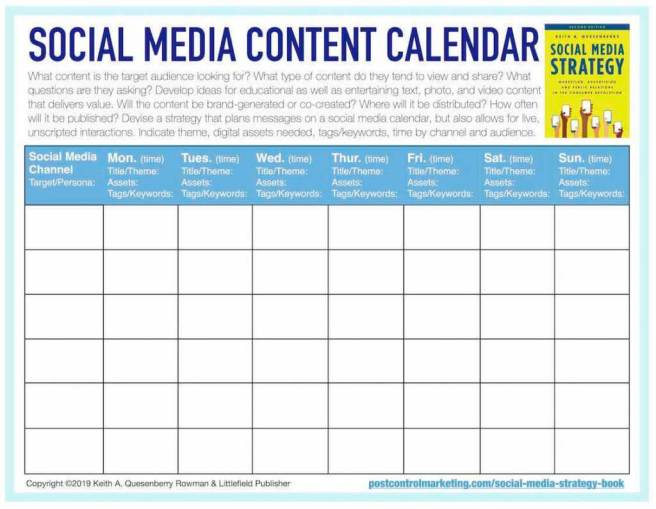 Free social media content caldenar template