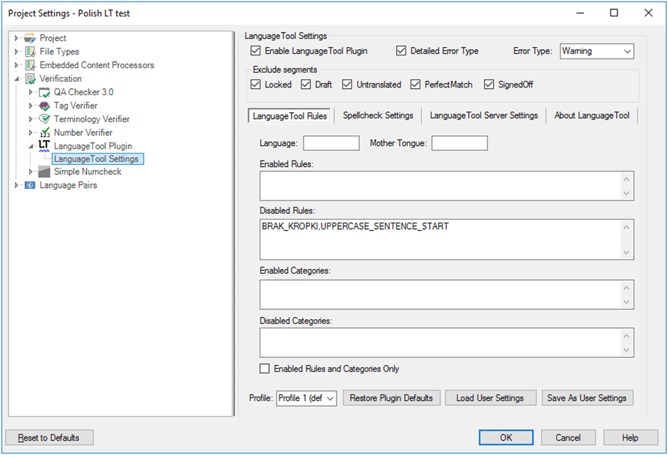 LanguageTool Plugin for SDL Trados Studio — User Profile Settings