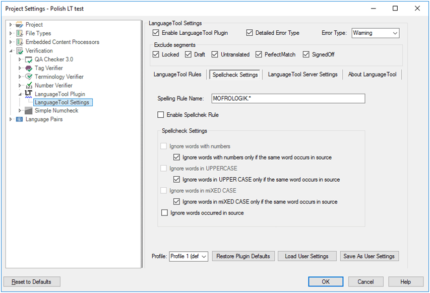 LanguageTool Plugin for SDL Trados Studio — Spellcheck Settings