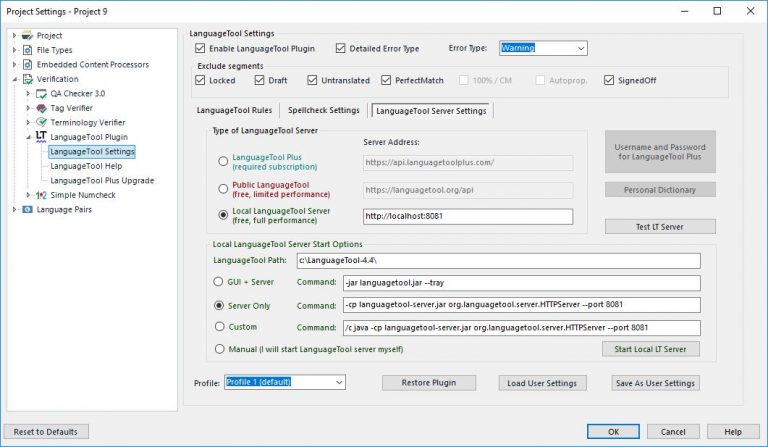 LanguageToolPlugin Plus Settings