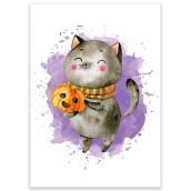 Ansichtkaart Halloween Kat van LittleLeftyLou