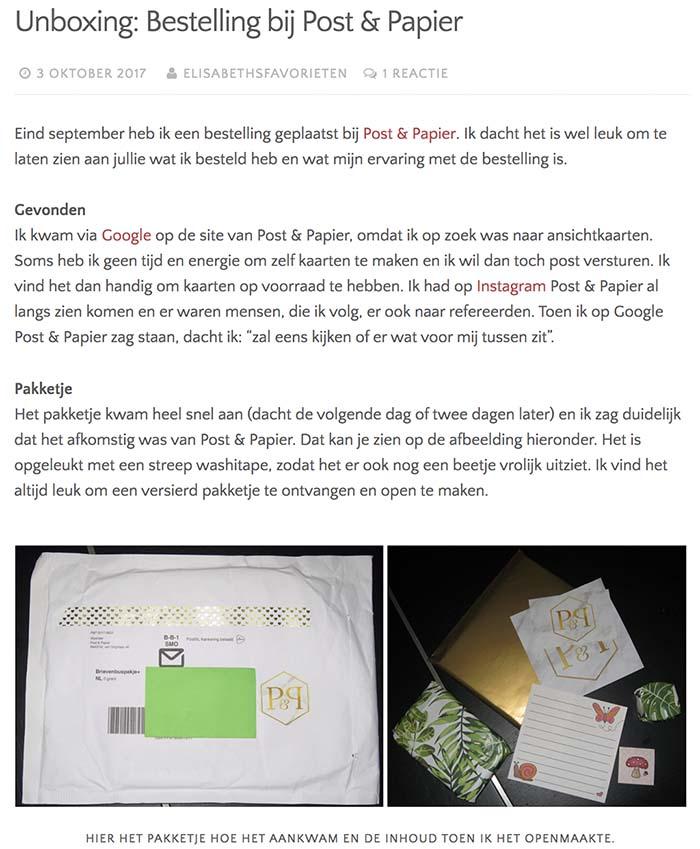 Blog op Elisabethsfavorieten (3 oktober 2017)