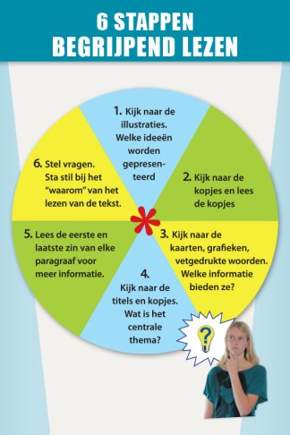 Begrijpend lezen in 6 stappen op educatieve poster voor in de klas
