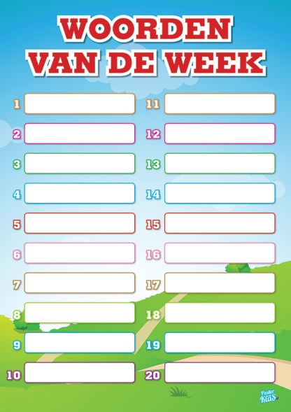 Poster Woorden van de Week educatieve posters voor klas of thuis