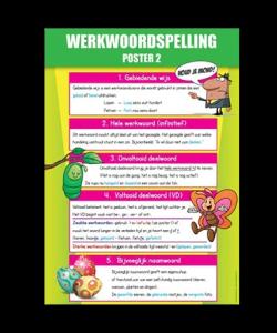 Poster in de klas Werkwoordspelling 2 educatieve posters voor klas of thuis