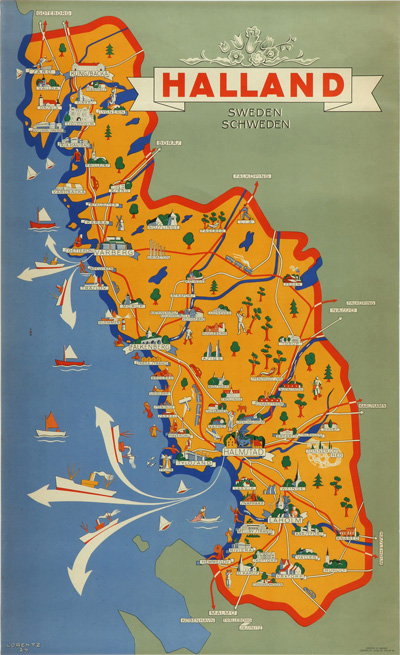 Original Vintage Poster Halland Sweden For Sale At