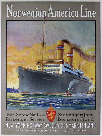 Original Vintage Poster Norwegian America Line For Sale
