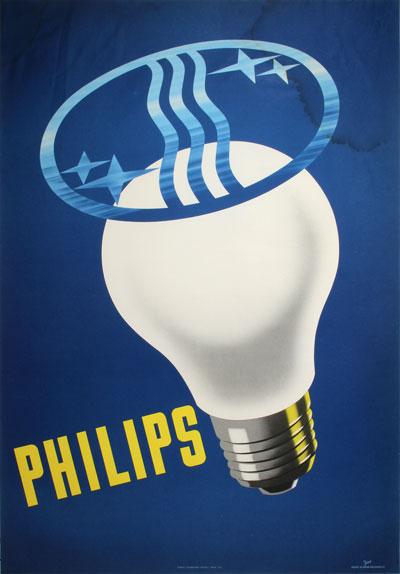 original vintage poster philips light bulbs