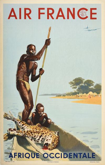 original vintage poster air france afrique occidentale west africa