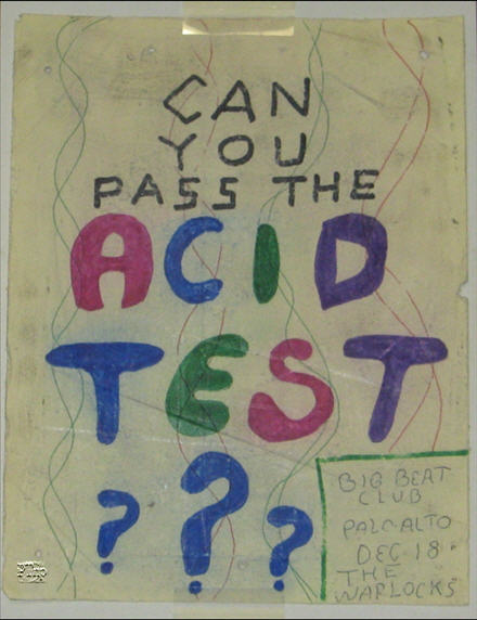 "This is a One-of-A-Kind handbill for the Big Beat Acid Test in Palo Alto Dec. 18, 1965. This item was hand-colored at the time, in colored pens and either markers or pastel crayons. It is not printed. It is completely done by hand. Notice the band mentioned is the Warlocks and not the Grateful Dead. So, it appears that some friends advertised them to followers as the Grateful Dead, but some people were advertising them still as the Warlocks, since that is the name they were commonly known as. This was likely the last Acid Test played where they went by the name of the Warlocks. This is the only other known item besides the Babbs Spread poster that features the name ""Warlocks"" and advertises an Acid Test. It was taken down from alocal coffe shop in either the Palo Alto or the Santa Cruz area, most likely the Catalyst, the location the other Warlocks Poster was removed from, for the Spread. Extremely Unique!"
