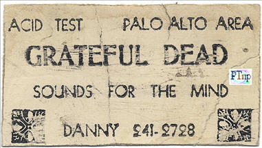 "Not sure exactly what this is, but it was billed as a ""Danny Rifkin Business Card"" when it appeared in a Rock and Roll auction several years ago. It is an oddity, but I included the pic here because of the location of Palo Alto being included on it. It could have been an invite for this gig, handed out to friends of the band or Danny, but doubling as a business card. That is what I think, but it's mere speculation on my part. Anyone who recognizes it is encoraged to followup and get me the info, so I can post it here."