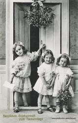 Namenstag, Maedchen, Blumen, Misteln, 1903