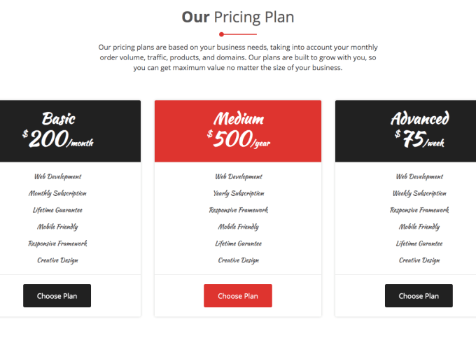 5. OUR PRICING WIDGET SECTION