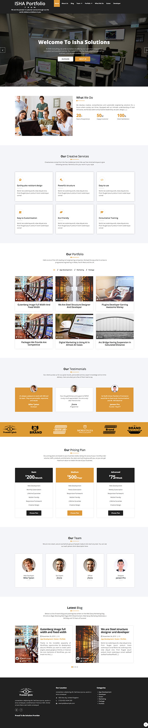 isha portfolio wordpress theme
