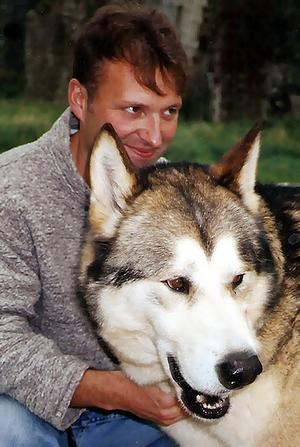 Philosopher and author Mark Rowlands with his pet wolf, Brenin. Rowlands is a guest at the 2009 Sydney Writers Festival.
