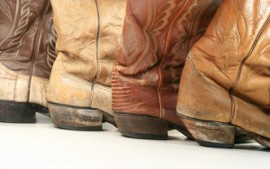 Boot heels all in a row
