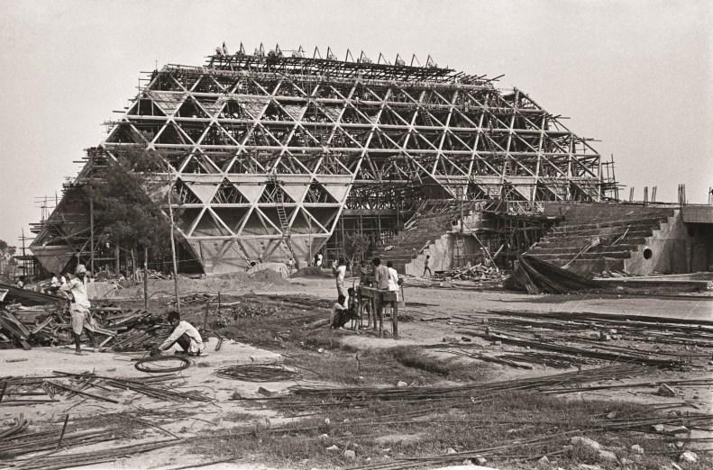 The Hall of Nations under construction, circa 1972; Image Credits – Madan Mahatta