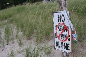 My favourite sign -- No Skinny Dipping Alone