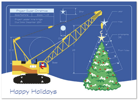 Tree Construction Holiday Greeting Card Construction