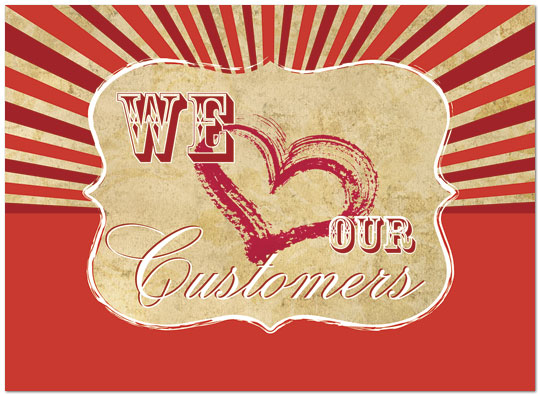 We Love Our Customers Retro Card Valentines Day Cards