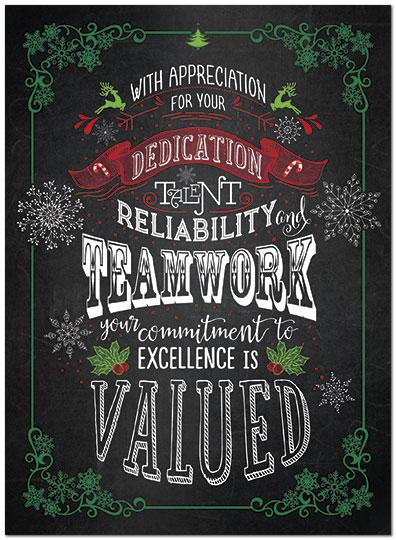 Teamwork Appreciation Card Employee Holiday Cards
