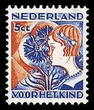 NVPH 249 Kinderzegels 1932 - meisje met korenbloem