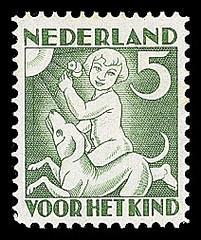 NVPH 233 - Kinderzegel 1930 - zomer kind met hond