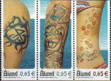 2 postzegels tatoeage Aland 2006