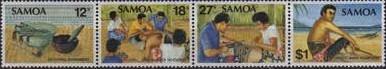 3 postzegels tatoeage Samoa 1981 de kunst van het tatoeeren