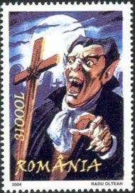 8 postzegel Dracula Roemenië 2004