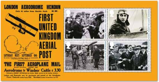 first united kingdom aerial post postzegelblokje