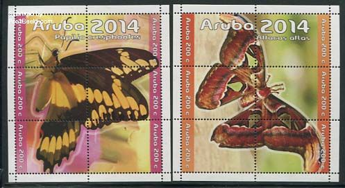 Stamps  Aruba butterflies 2014
