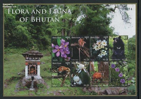 Postzegels Flora en fauna van Bhutan jp31406b