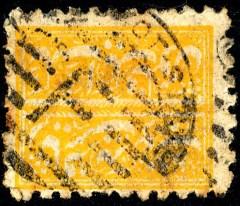 Faridkot 1 F 1878 oranjegeel getand gestempeld