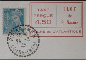 Taxe percue 4.50 1945 detail