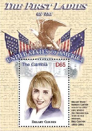 Postzegel met Hillary Clinton, uitgegeven door Gambia