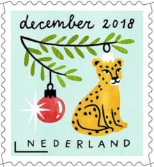 Decemberzegel 2018 - kersttak met traditionele kerstbal en luipaard-kerstbal