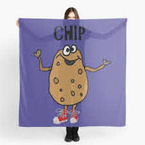 """Funny Potato Named Chip Pun Cartoon"""" Scarf by naturesfancy 